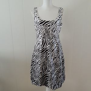 Zebra Print Dress size 8 brown white